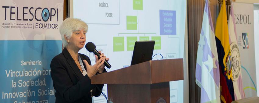 Académicos de la ESPOL y del Observatorio TELESCOPI organizaron un seminario sobre buenas prácticas en innovación social y gobernanza universitaria